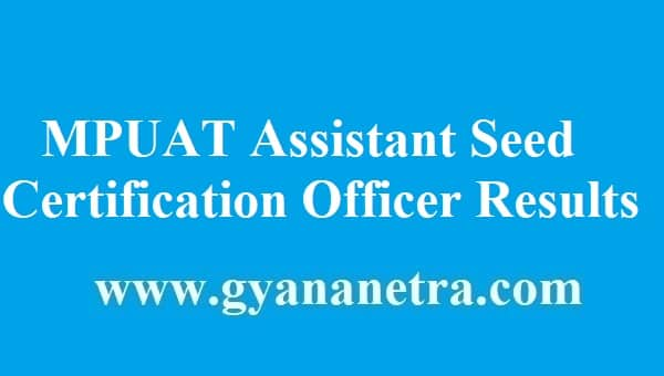 MPUAT Assistant Seed Certification Officer Results 2018