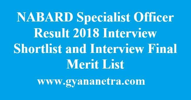 NABARD Specialist Officer Result