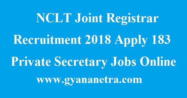 NCLT Joint Registrar Recruitment