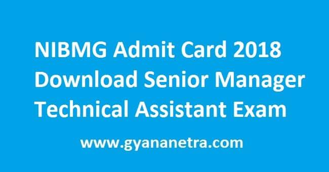 NIBMG Admit Card