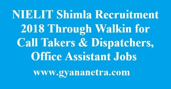 NIELIT Shimla Recruitment
