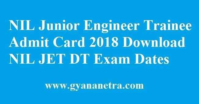 NIL Junior Engineer Trainee Admit Card