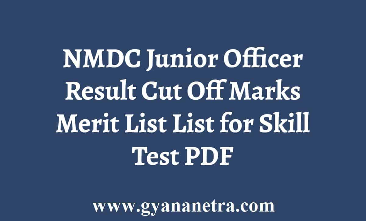 NMDC Junior Officer Result Cut Off