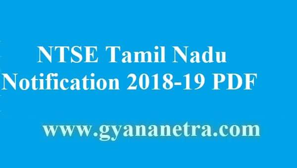 NTSE Tamil Nadu Notification 2018-19