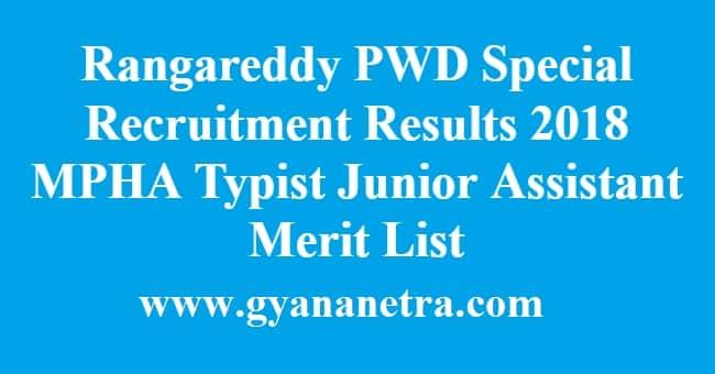 Rangareddy PWD Special Recruitment Results