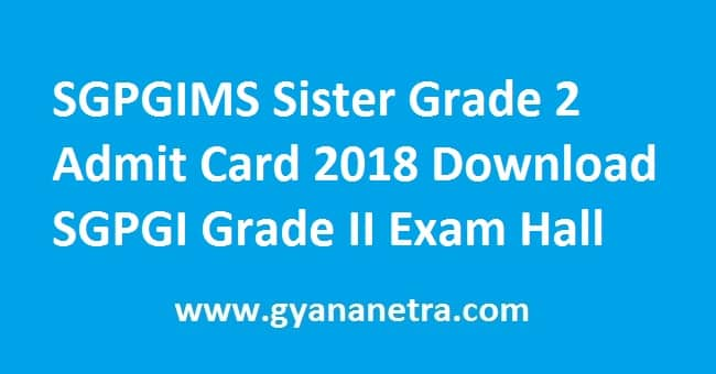 SGPGIMS Sister Grade 2 Admit Card