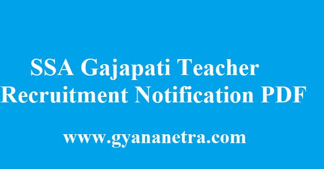 SSA Gajapati Teacher Recruitment 2018