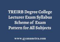 TREIRB Degree College Lecturer Syllabus Exam Pattern