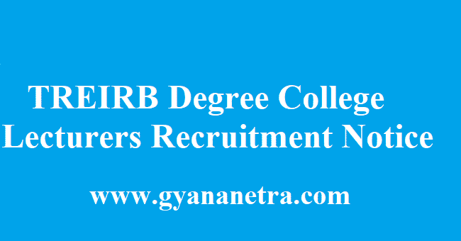 TREIRB Degree College Lecturers Recruitment
