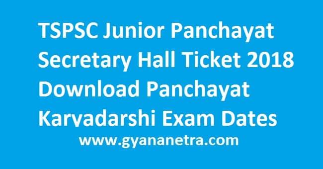 TSPSC Junior Panchayat Secretary Hall Ticket