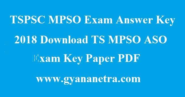 TSPSC MPSO Exam Answer Key