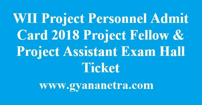 WII Project Personnel Admit Card