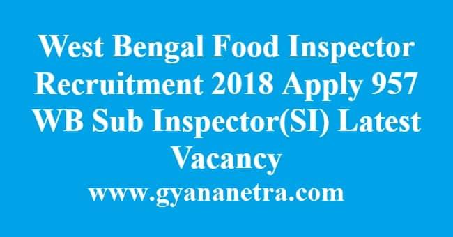 West Bengal Food Inspector Recruitment