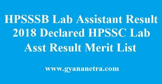 HPSSSB Laboratory Assistant Result