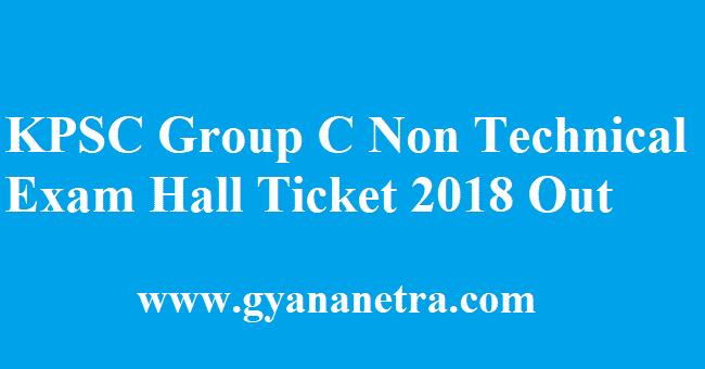 KPSC Group C Non Technical Exam Hall Ticket 2018