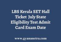 Kerala State Eligibility Test Hall Ticket