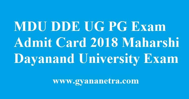 MDU DDE Admit Card