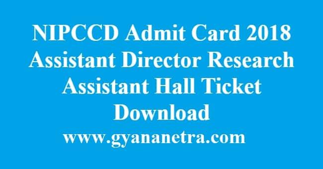 NIPCCD Admit Card