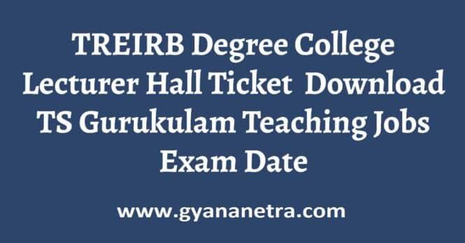 TREIRB Degree College Lecturer Hall Ticket Exam Date