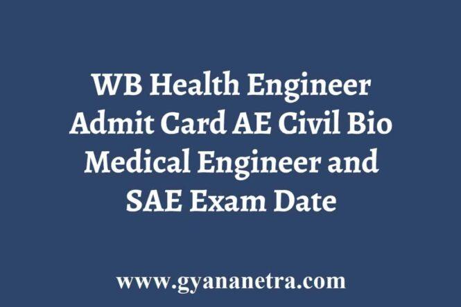 WB Health AE SAE Admit Card