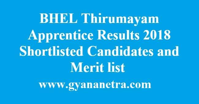 BHEL Thirumayam Apprentice Results