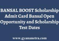 Bansal BOOST Admit Card