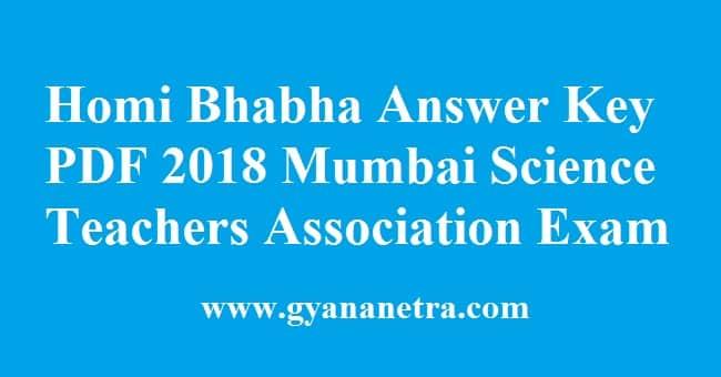 Homi Bhabha Answer Key