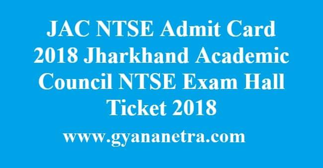 JAC NTSE Admit Card