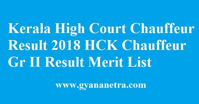 Kerala High Court Chauffeur Result