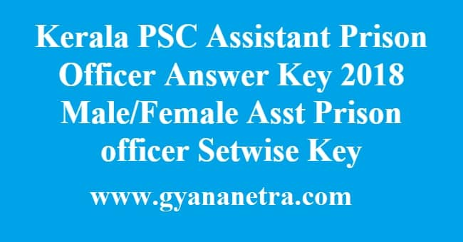 Kerala PSC Assistant Prison Officer Answer Key