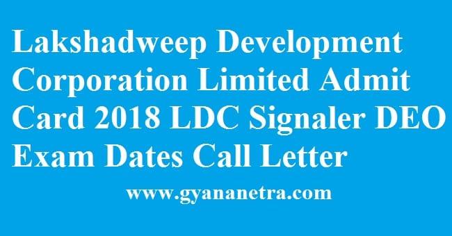 Lakshadweep Development Corporation Admit Card