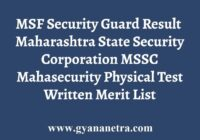 MSSC MSF Security Guard Results