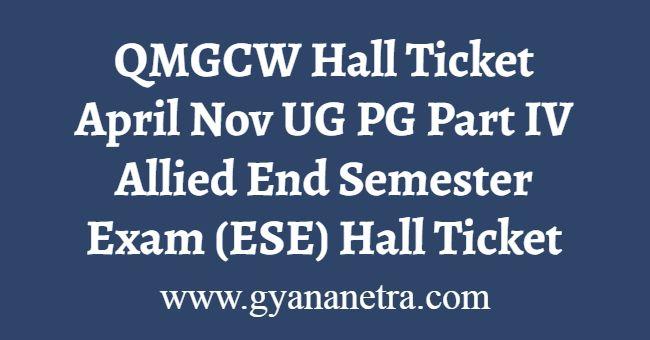 QMGCW Hall Ticket April Nov