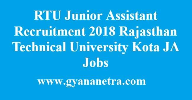 RTU Junior Assistant Recruitment