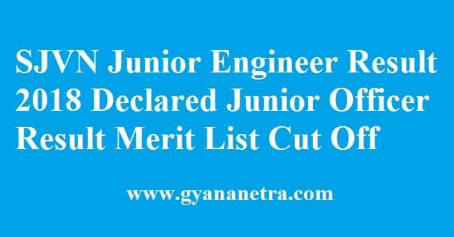 SJVN Junior Engineer Result