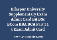 Bilaspur University Supplementary Admit Card