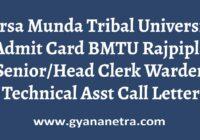 Birsa Munda Tribal University Admit Card Exam Date