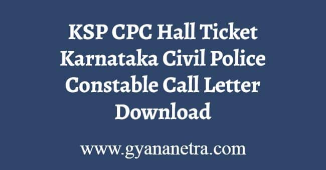 KSP CPC Hall Ticket Download