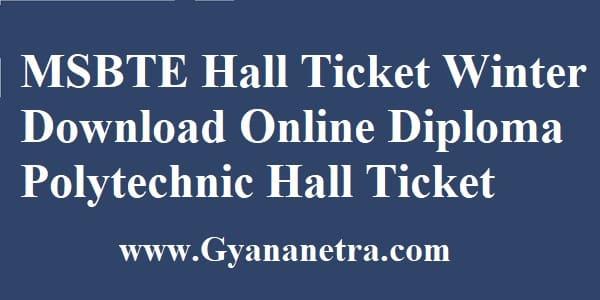 MSBTE Hall Ticket Winter Examination