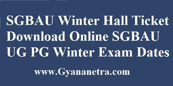 SGBAU Winter Hall Ticket Download Online