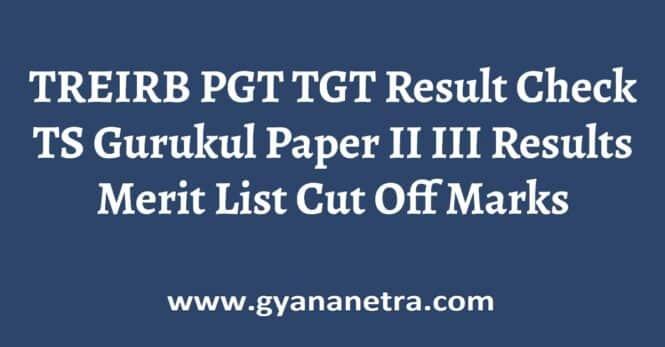 TREIRB PGT TGT Result Check Online