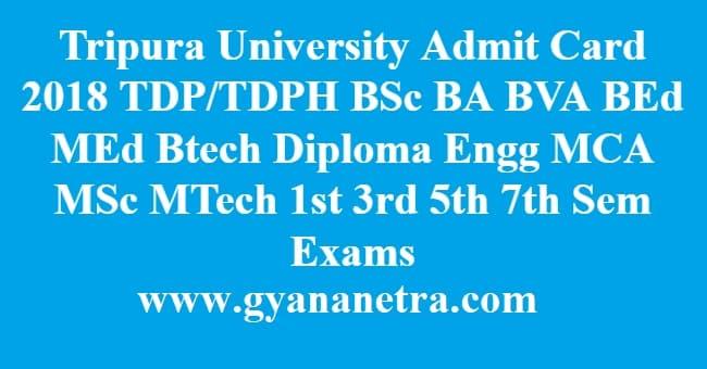 Tripura University Admit Card