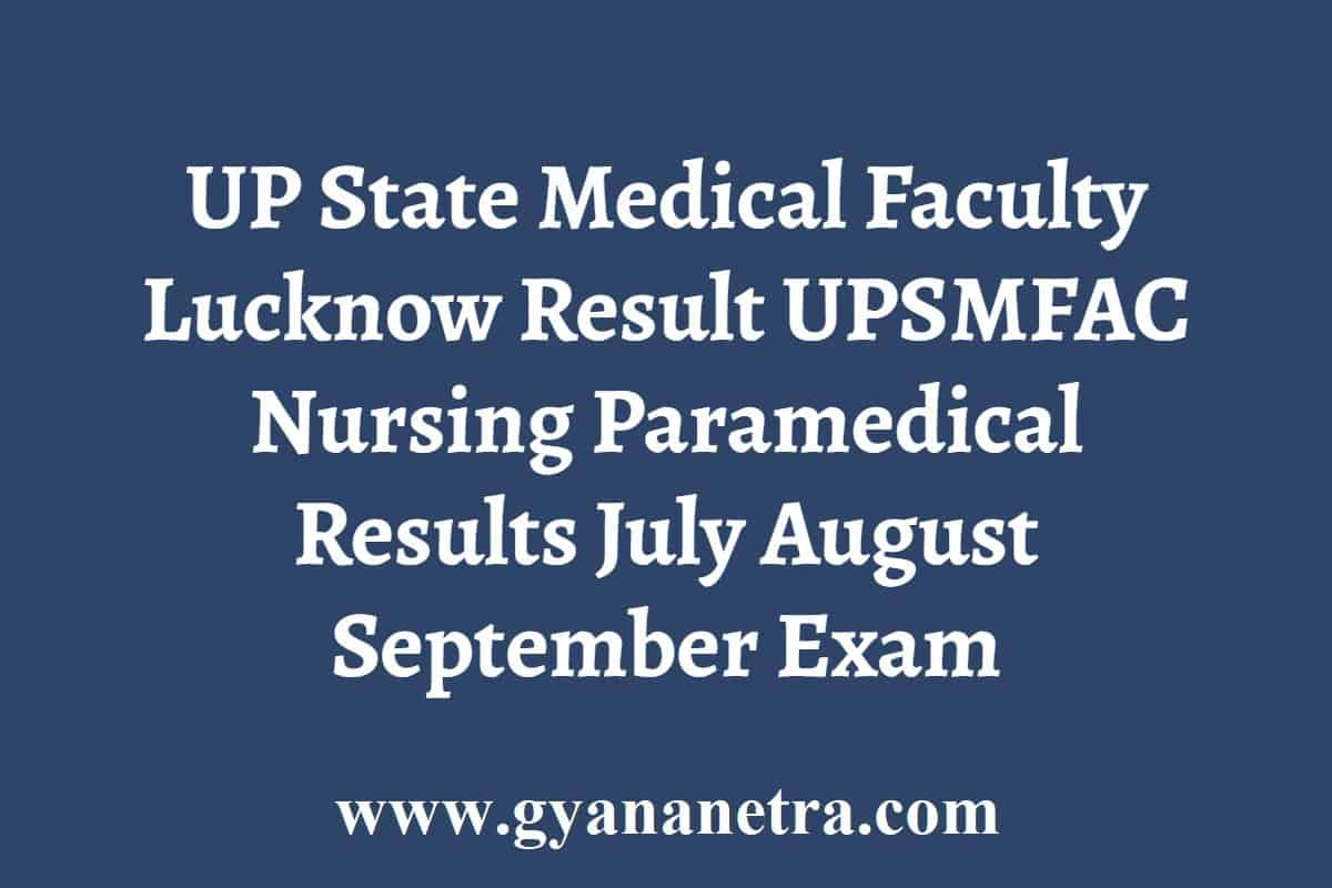 UP State Medical Faculty Lucknow Result