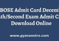 BBOSE Admit Card Exam Date