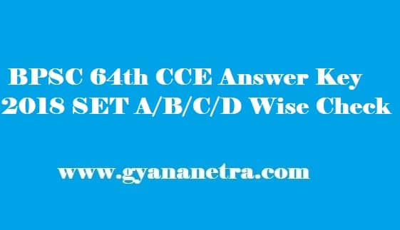 BPSC 64th CCE Answer Key 2018