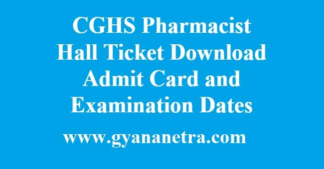 CGHS Recruitment Mahaonline Hall Ticket