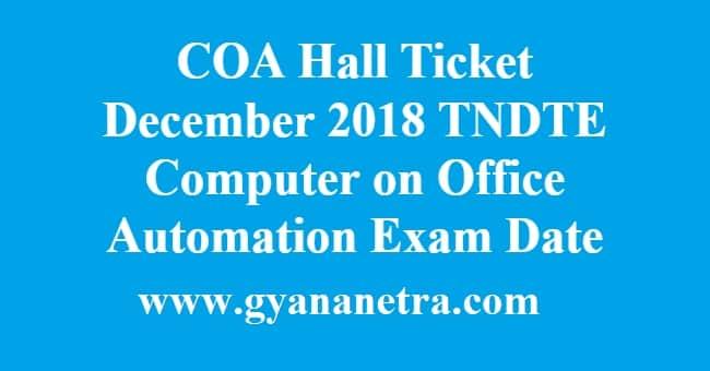 COA Hall Ticket December 2018