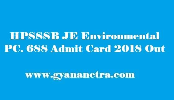 HPSSSB Junior Engineer Environmental Admit Card 2018