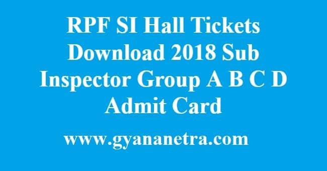 RPF SI Hall Tickets