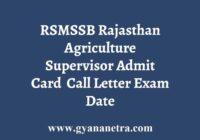 RSMSSB Agriculture Supervisor Admit Card